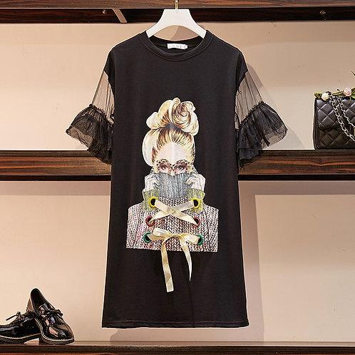 Streetwear Spectacles Dress Girl Print Mesh Patchwork Butterfly Sleeve Dresses
