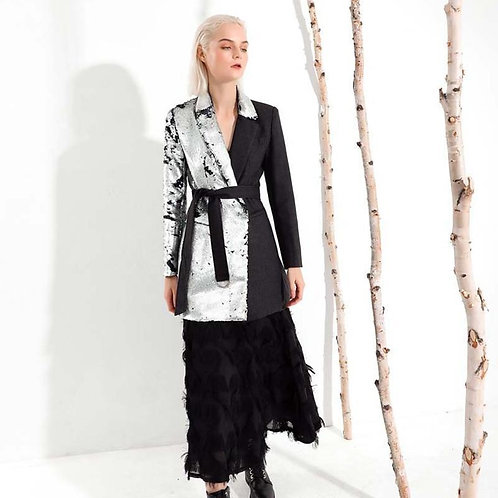 Hisano Sequins Split Bandage Coat