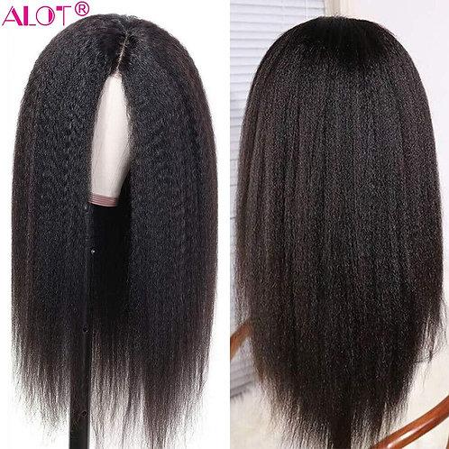 Pre Plucked Brazilian Remy Kinky Glueless 13x1 Lace Part Wigs 180% 10-28 Inch