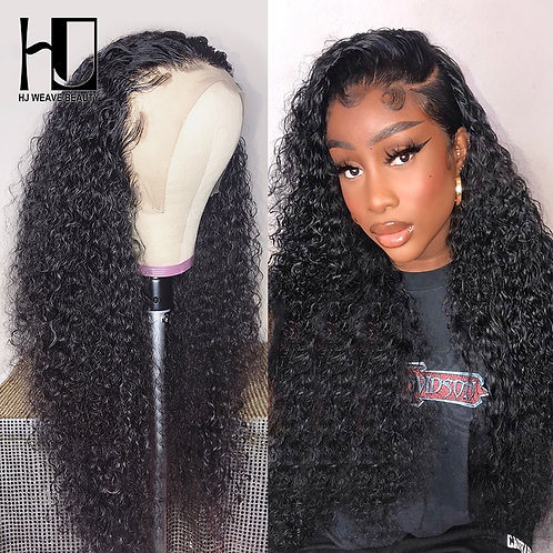 Curly Brazilian Remy Hair PrePlucked With Baby Hair Lace Front Human Hair Wigs