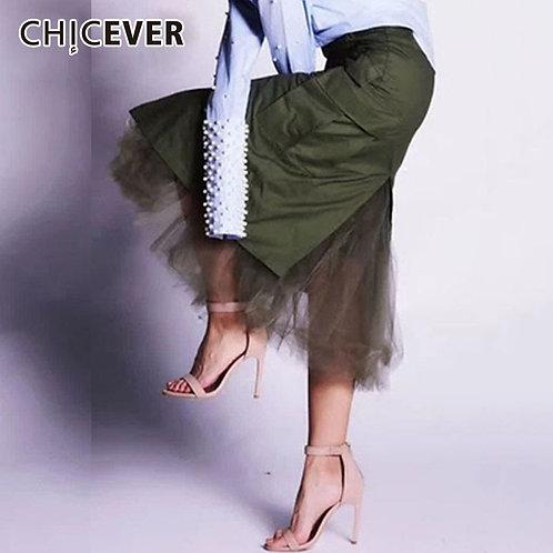 High Waist Slim skirt Patchwork Mesh Midi Bodycon