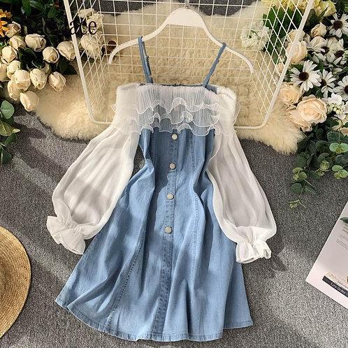 Off Shoulder Denim and Mesh Patchwork Short Ruffles Dress