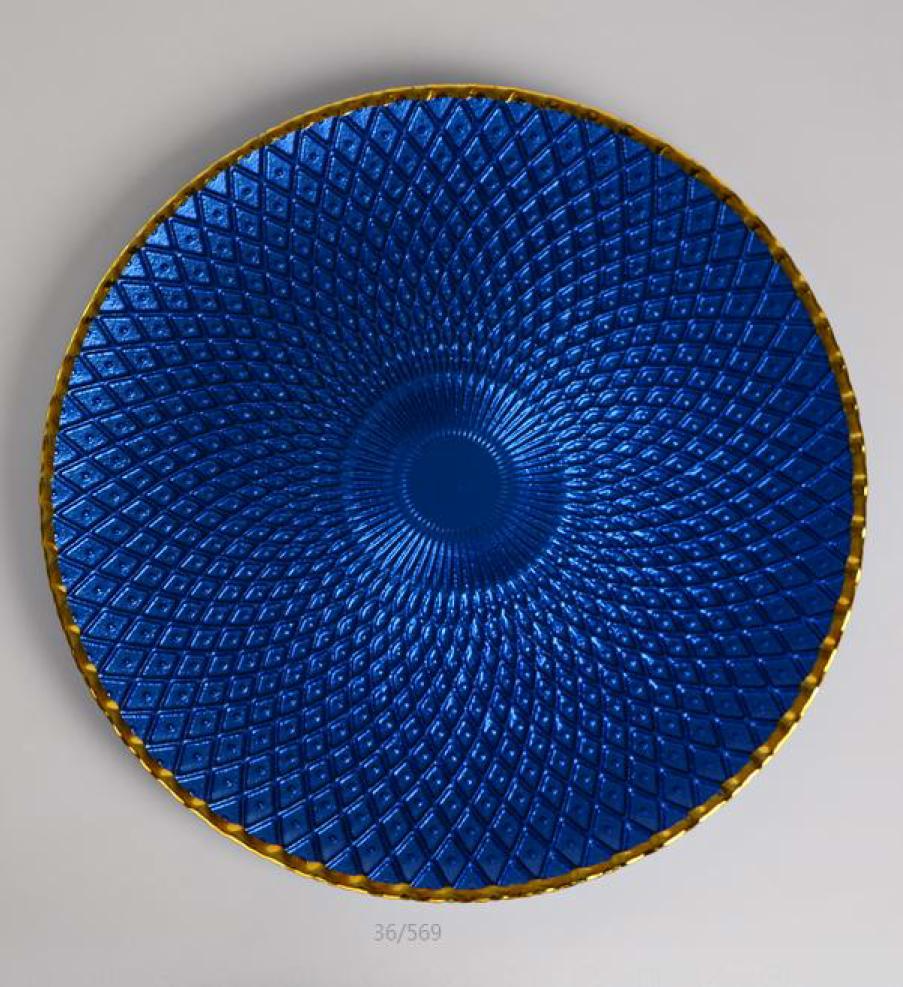 Blue Basket Weaved Glass Gold Rimmed