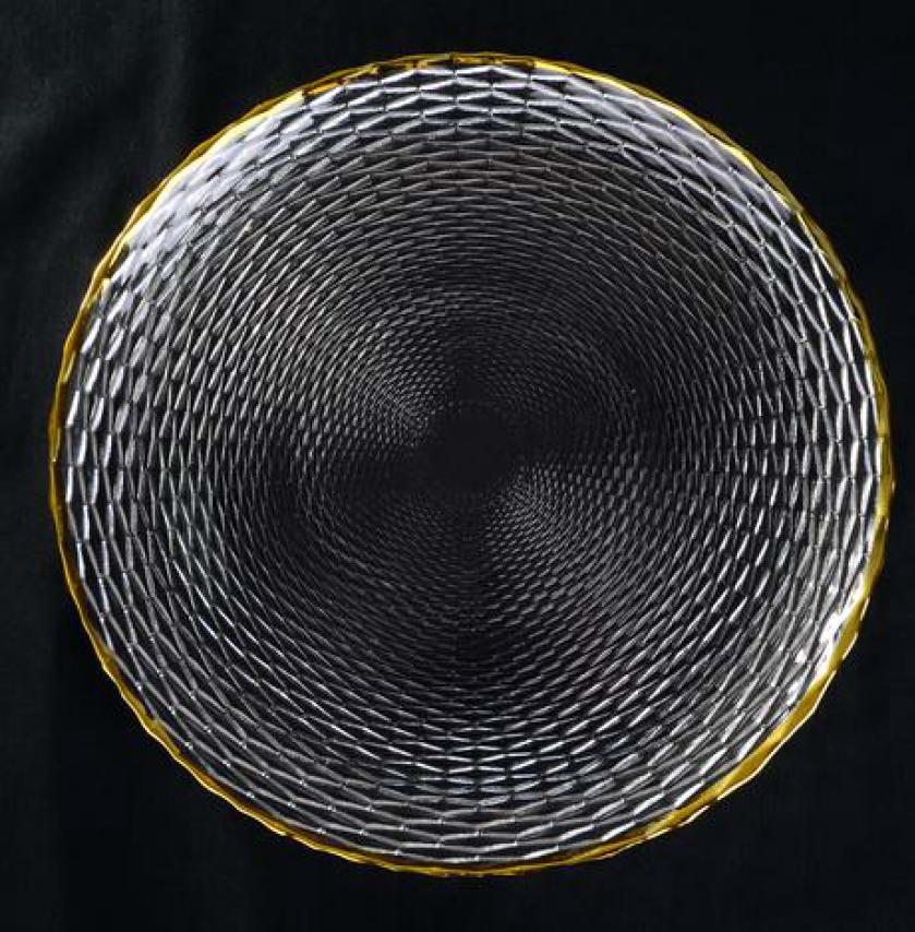 Basket Weaved Glass Gold Rimmed Charger.