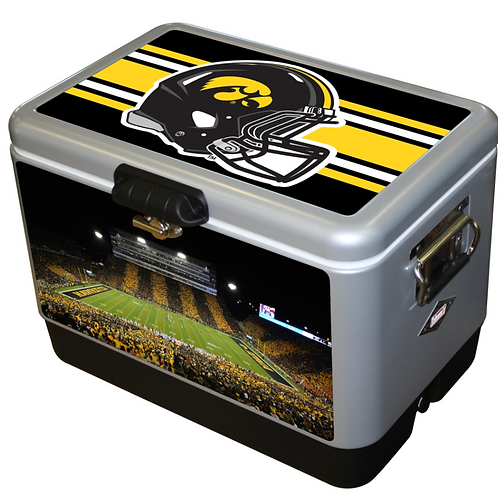 STEEL BELTED - Iowa Hawkeye Helmet/Kinnick Stripe Cooler