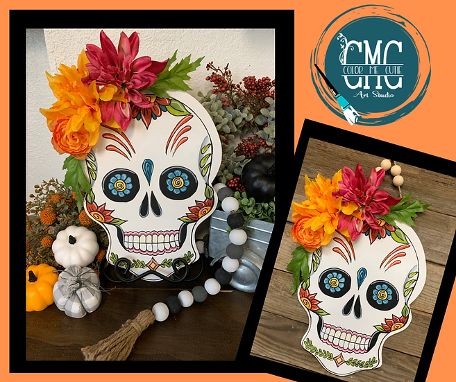 Finished Wood Sugar skull with bead hanger