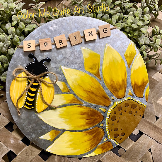 Hand Painted Sunflower with Bee on Metal Round