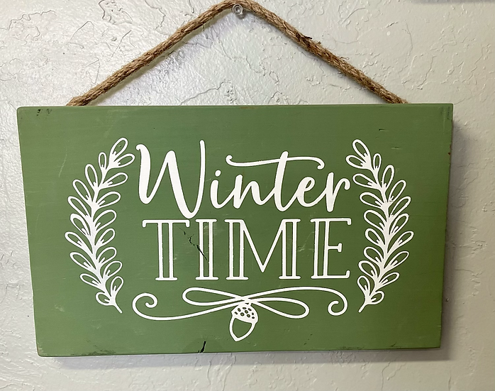 Winter time small wooden decor sign