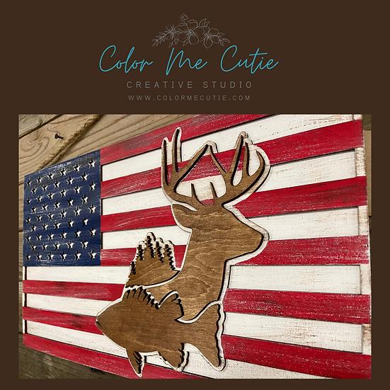 Rustic US Flag Sign/Dimentional Deer Fish Trees Wood sign/Laser Cut Sign