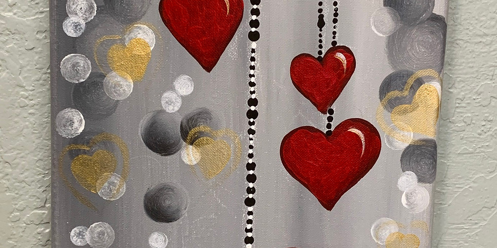 Bursting With Love Canvas Painting Class $35