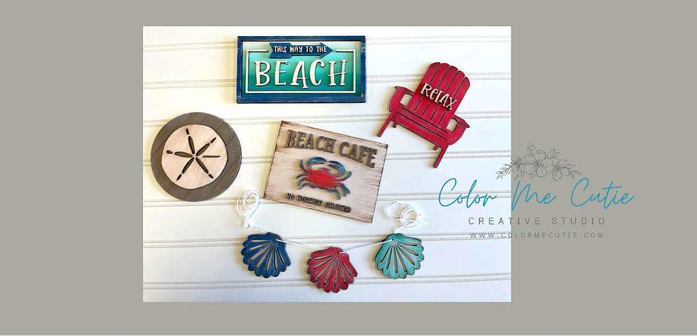 Beach themed Tier Tray Set/laser cut small wood signs