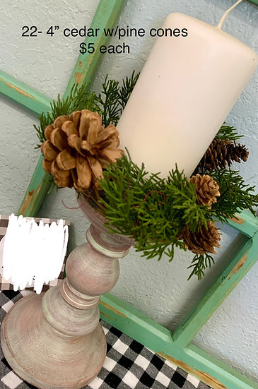 """Cedar with pinecone candle ring 4"""""""