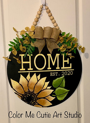 Personalized-Sunflower porch decor - round doorhanger