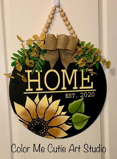 Personalized-Sunflower porch decor - round doorhanger