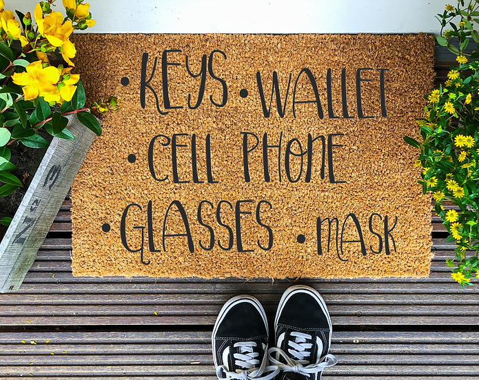 Keys, wallet, cell phone, glasses, mask---Year round Door Mat