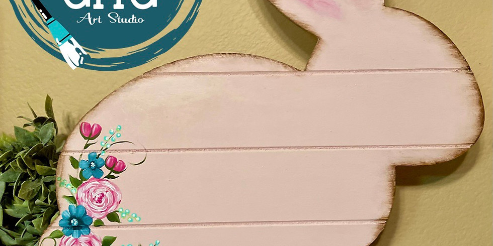 3/6 @ 6:00pm Flower bunny faux shiplap wood with stand class