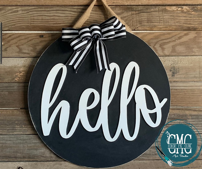 3D Hello black and White Door hanger