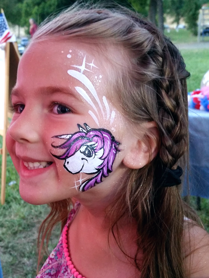 Unicorn face painting by Color Me Cutie