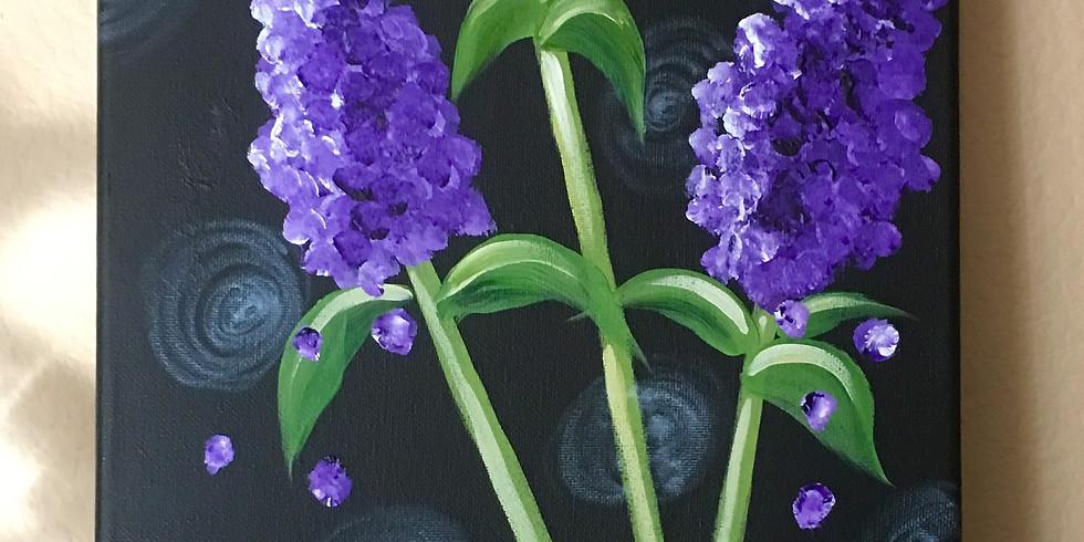 New Beginnings Wesleyan Church- Purple Lilacs Paint Class $35