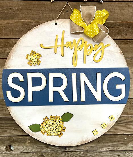Happy Spring Hydrangea Door Hanger