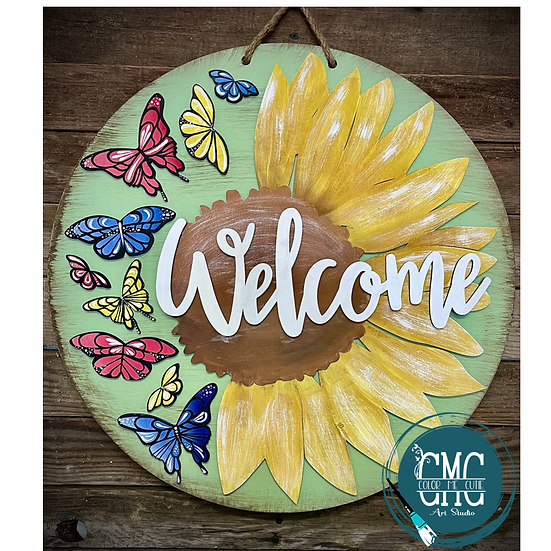 Welcome Sunflowers and butterflies wood round