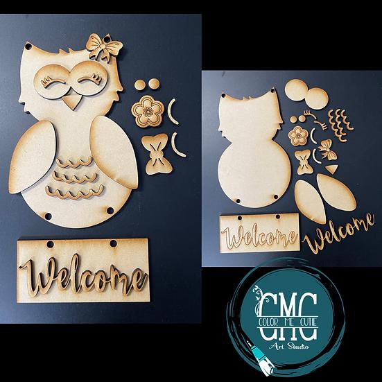 Owl Welcome kids bedroom door hanger kit