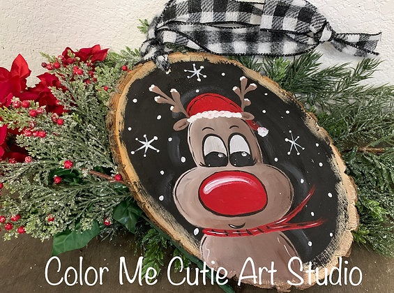 Hand Painted Reindeer Round