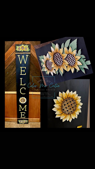Dimensional Sunflower Welcome Porch Sign