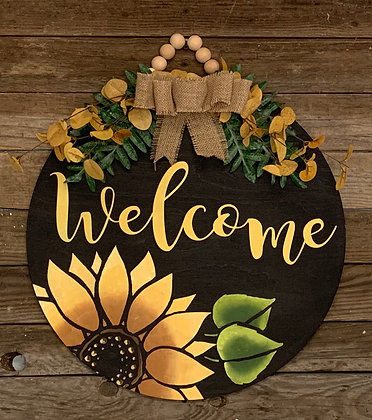 Sunflower welcome round door hanger