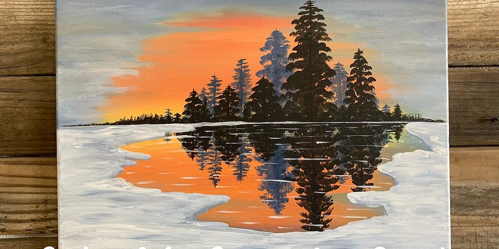 Winter Sunset Painting Class
