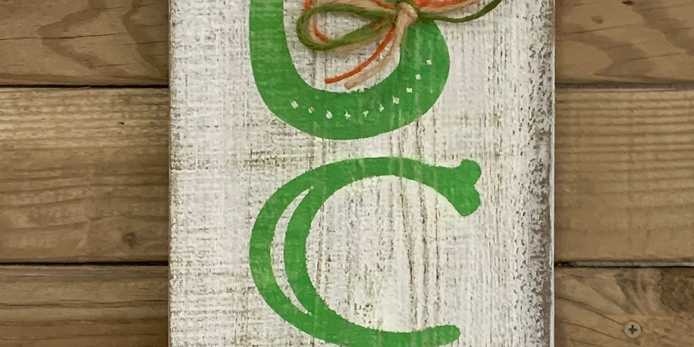 Oh so very LUCKY wood plank sign class $35