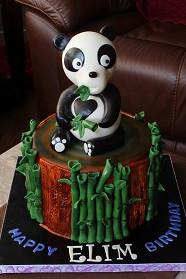 Panda cake with Panda sugar figurine