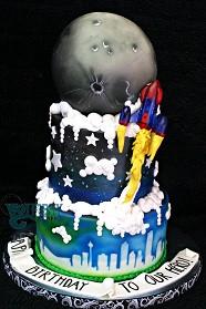 Calgary Space cake with hollow chocolate Moon