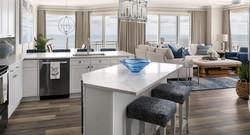 quartz counter tops, chrome lighting