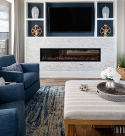 custom built in, fireplace, TV