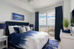 bold blue and white guest bedroom