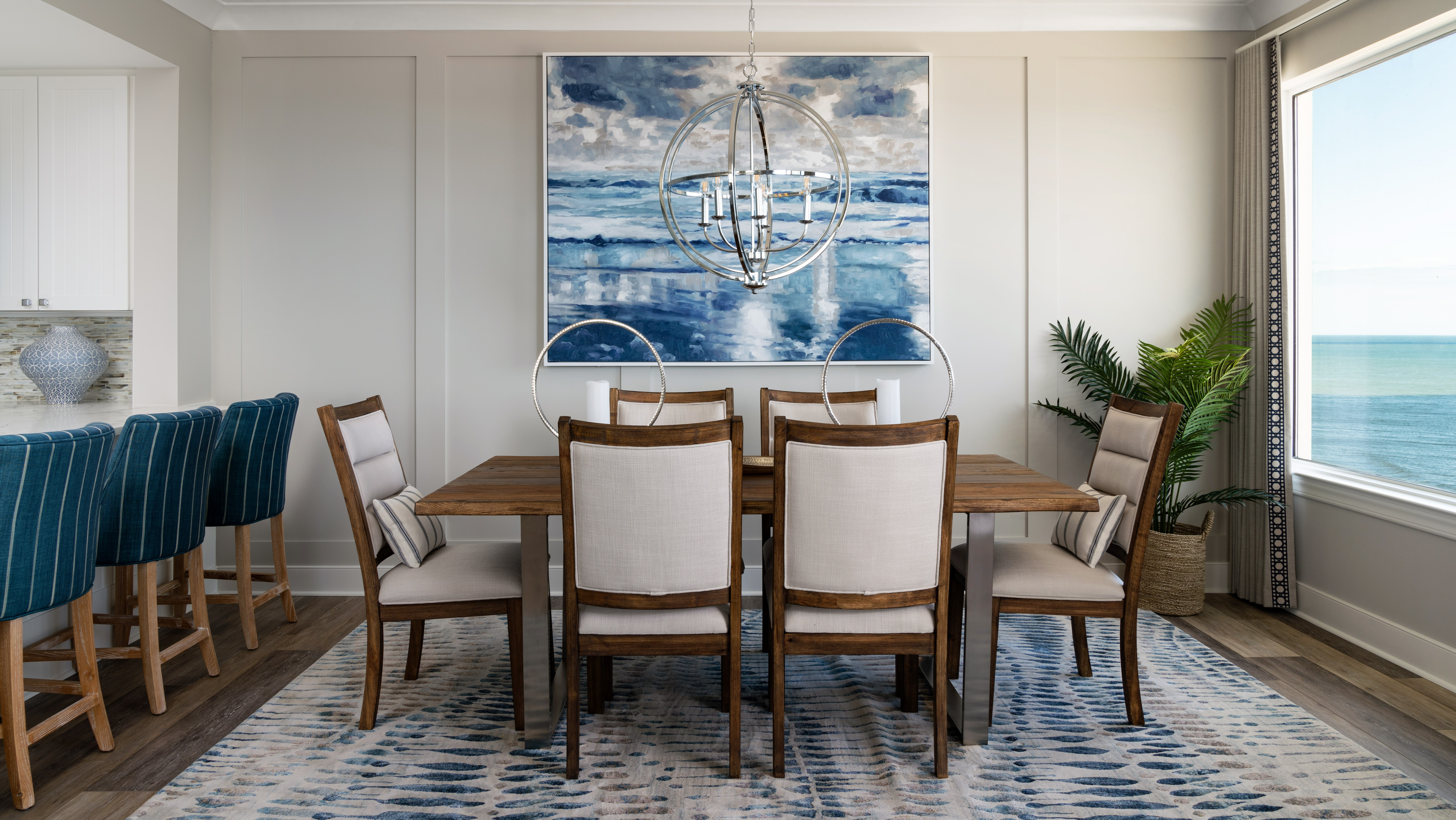 beach dining room, chrome chandelier