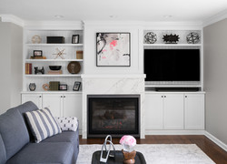 custom built in fireplace, TV