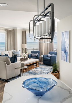 beach living room, chrome lighting