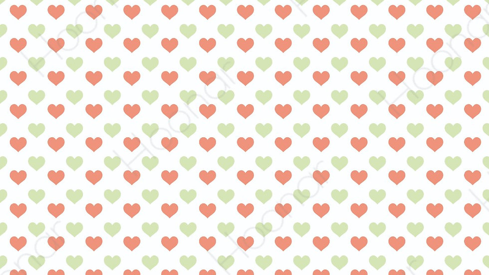 Printable Red and Green Hearts Wrapping Paper Design