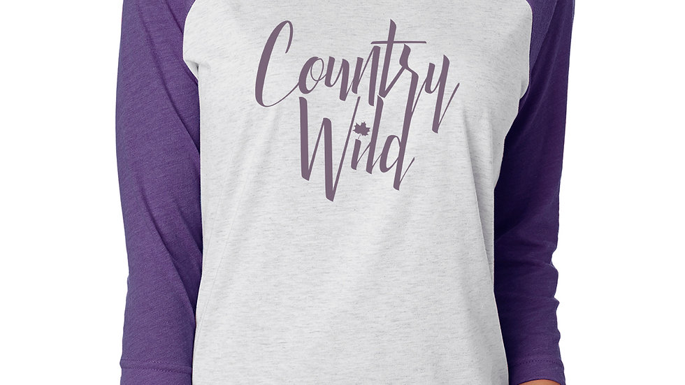 Country Wild 3/4 Raglan: Heather White & Purple Rush