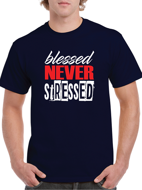 Blessed Never Stressed - Navy