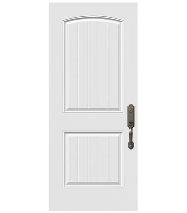 Porte 2 panneaux à lambris tête cambrée