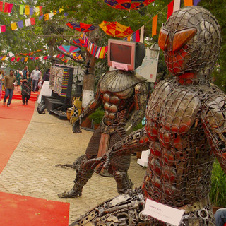 Installations of huge metal sculptures by Hyderabad based artist Illyas at NMAF.