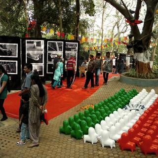 Installation by Ratan Saha an eminent sculptor at the NMAF, Navi Mumbai.