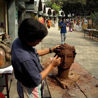 Live demonstration of terracotta sculpting by famous kolkata artist Ram Kumar Manna at NMAF.