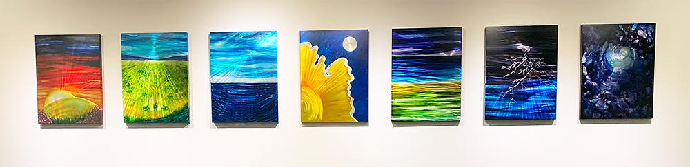 7 panel series by Lynn Rae Lowe.  Made for Temple Beth El in Bloomfield Hills, MI