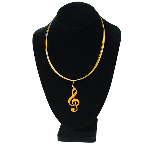 Treble Clef Pendant on Two-Tone Necklace