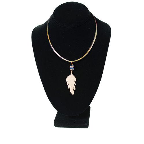 Mum Leaf Pendant on Multi-colored Necklace