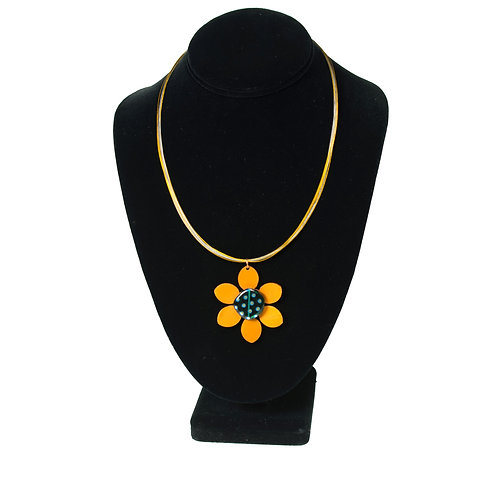 Flower Pendant on Two-Tone Necklace